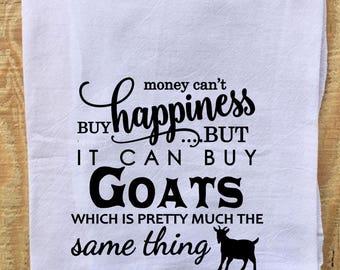 Tea Towel, Flour Sack Towel, Dish Towel,Housewarming Gift,Funny Dish Towel,Hostess Gift, Farm House Decor, Goat Lover