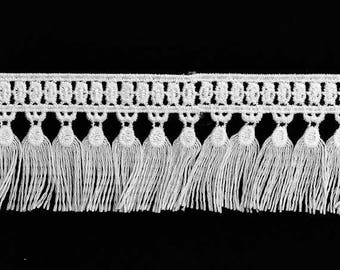 "2"" Embroidered Lace Fringe by 1 yard, Black, White, TR-11653"