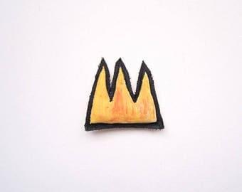 Crown Basquiat wearable tiny art brooch Valentine's day yellow pin crown gift pop art graffiti her him gift birthday anniversary graduation