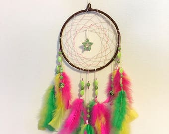 Limited Time SALE! Crystal Star Neon Green & Pink Dreamcatcher