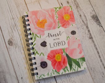 Floral Journal - Trust in the Lord Journal - Scripture Journal - Bible Journal - Painted Floral Journal