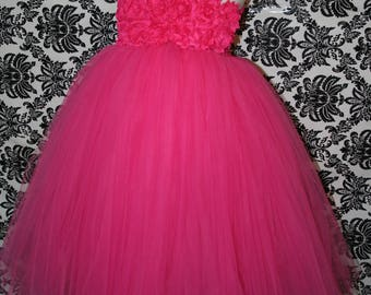 Hot Pink Flower Girl Tutu Dress, Pink Flower Girl Tutu Dress, Bright Pink Tutu Dress, Pink Tutu Dress,  Tutu Dress, Flower Girl tutu Dress