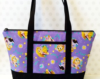 Rapunzel Purple Zipper Tote / New Design