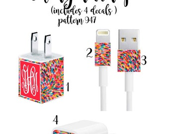 Iphone Charger Wrap, Monogram Iphone charger decal in Pattern 947