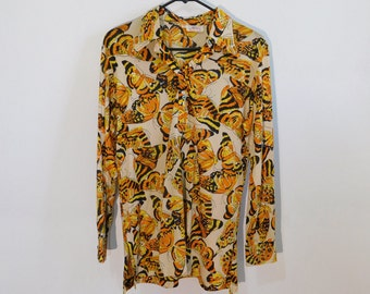 Vintage 60s/70s Indie Butterflies Orange, Black, Tan, Yellow Extended Collar, Tall ~ Aladdin~Polyester~US Adult Size Medium ~ See Dimensions