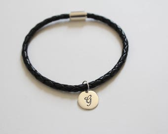 Leather Bracelet with Sterling Silver Cursive G Letter Charm, Bracelet with Silver Letter G Pendant, Initial G Charm Bracelet, G Bracelet