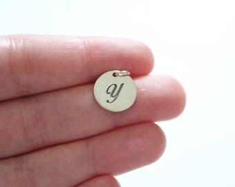 Sterling Silver Cursive Circular Y Initial Charm, Cursive Y Initial Pendant, Large Y Letter Charm, Letter Y Charm, Letter Y Pendant, Y Charm