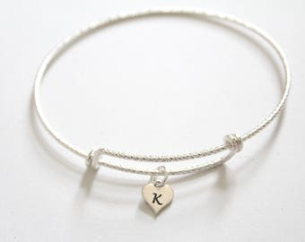 Sterling Silver Bracelet with Sterling Silver K Letter Heart Charm, Silver Tiny Stamped K Initial Heart Charm Bracelet, K Charm Bracelet