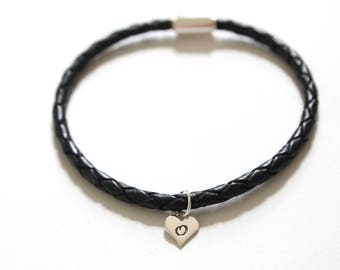 Leather Bracelet with Sterling Silver O Letter Heart Charm, Silver Tiny Stamped O Initial Heart Charm Bracelet, Letter O Charm Bracelet, O
