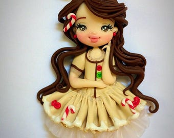 Necklace polymer clay handmade ginger bread doll