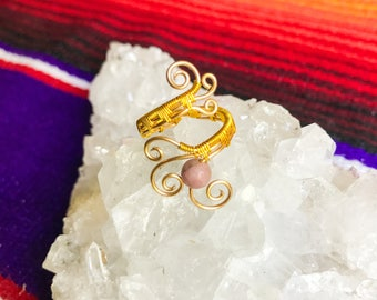 Rhodonite Handmade Wire Wrapped Ring || Adjustable Gold Gemstone Jewelry