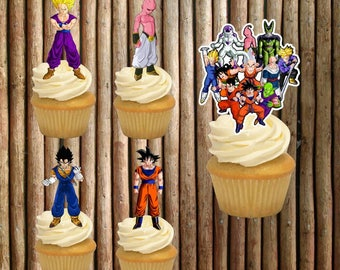 cupcake toppers dragon ball z, dragon ball z, party dragon ball z, party dragon ball z toppers, birthday dragon ball z
