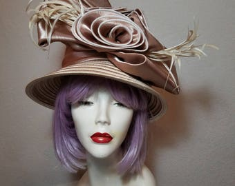 FREE  SHIPPING  Wide Brim  Floral  Feather  Hat