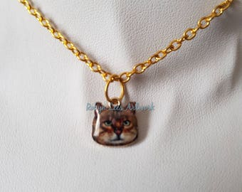 Tiny Enamel Brown Tabby Cat Kitten Face Charm Necklace on Gold Plated Crossed Chain. Pets, Animals, Cute, Family, Gift