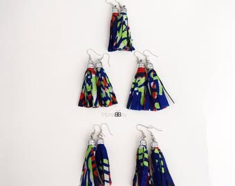 African Fabric Tassel Earrings, Textile Earrings, Ankara Fabric Tassel Earrings, Handmade Fabric Earrings, African Tribal Earrings