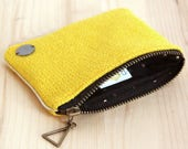 Yellow wool Recycled Fabric Cardholder / Gold dots lined large wallet / Fancy small pouch / Girl Friend Woman Gift / PCT2
