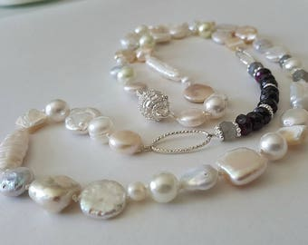 Pearl Necklace With Garnets And Labradorite