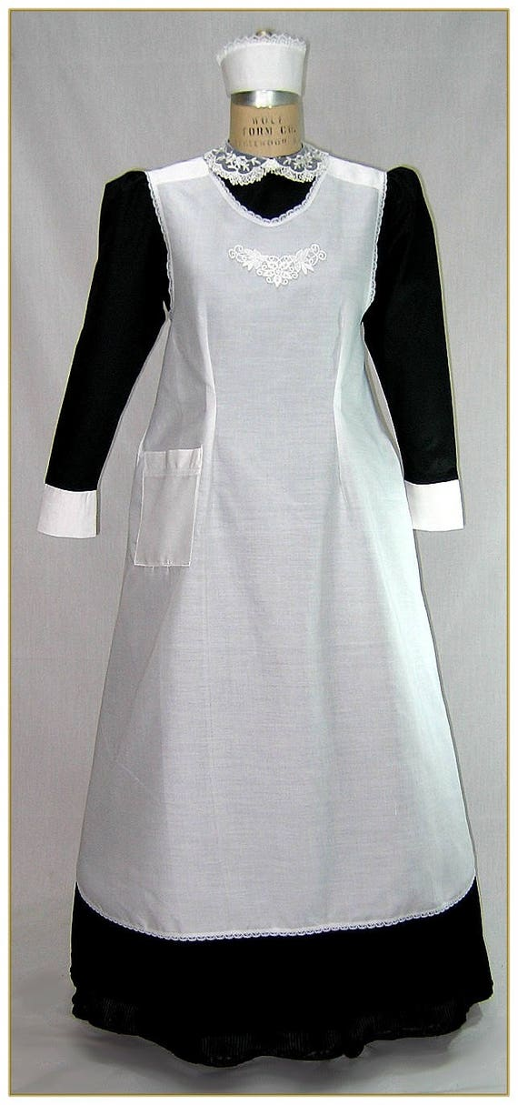 Vintage Aprons, Retro Aprons, Old Fashioned Aprons & Patterns 1900-1910 Edwardian Maids Cross Strap ApronEdwardian Maids Cross Strap Apron $69.00 AT vintagedancer.com