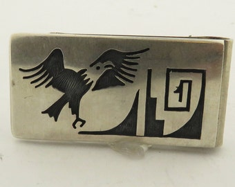 """Vintage Heavy Stamped Sterling Silver Hand Engraved Money 2"""" x 1"""" Clip / 30.9 Grams."""