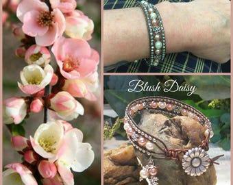 BLUSH DAISY Beaded Leather Wrap Bracelet, 3 Row Wrap, Coral Pink, Daisies, Boho, Vintage Style, Handmade Jewelry, Ravengirl Design