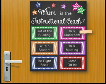 Instructional Coach Door Sign, Back to School Classroom Poster, School Office Decor, Where is the Instructional Coach Gift Idea