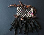 Handwoven silk brooch - u...