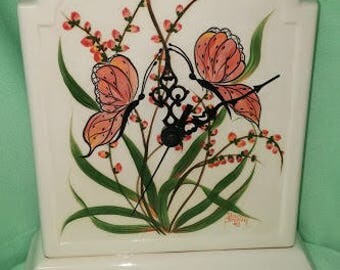 Deco Mantle Clock with Butterflies