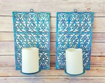 Mirrored Wall Sconces | Turquoise Wall Candle Holders | French Country Candle Holders | Farmhouse Home Decor | Rustic Candle Holders