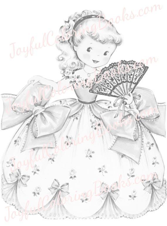 5 Retro Party Princess Grayscale Coloring Pages