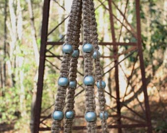 Jute Plant Hanger with Light Pearl Green Wooden Beads
