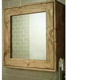 bathroom cabinet wood natural & eco friendly, door mirror and 3 shelves, custom size options, handmade rustic industrial style from Somerset