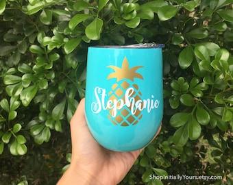 Custom Swig Wine Cup, Custom Swig Wine Tumbler, Stainless Steel Cup, Custom Holiday Gift, Custom Gift, Pineapple Cup, Stainless Wine Cup