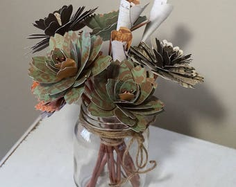 Paper Flower Mason Jar Bouquet - Flowers with Stems in Copper, Orange & Green