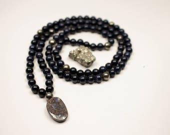 Blue Goldstone, Pyrite, Boulder Opal 108 bead mala - Prayer Beads