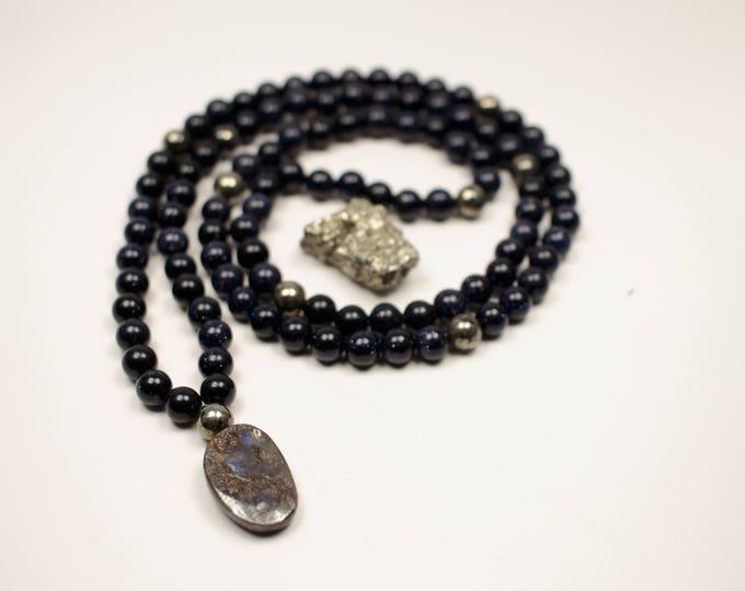Featured listing image: Blue Goldstone, Pyrite, Boulder Opal 108 bead mala - Prayer Beads