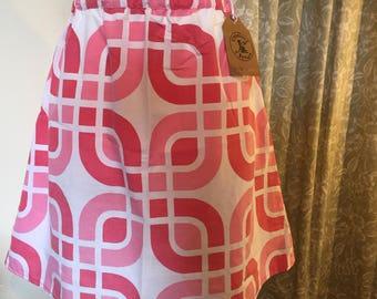 60's Geometric Pink print skirt - size S 10/12