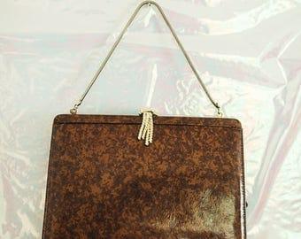 Vintage Brown Tortoise Handbag Clutch
