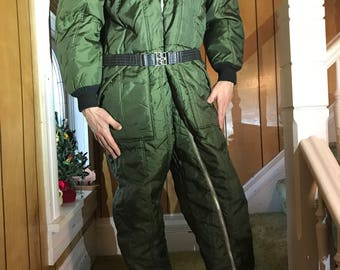 Quilted Nylon Coveralls Snowsuit Jumpsuit Flightsuit/Olive Green/Large/1960s 70s/Work Wear/Outdoor/Quilted/Insulated/The Right Stuff/Aviator