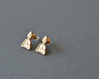 Buddha Stud Earrings. Stud Earrings. Buddha Earrings. Minimalist Stud Earrings. Minimalist Buddha Earrings. Gift For Women. Studs. Buddha.