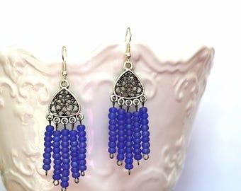 Tribal Purple Earrings, Bohemian Earrings, Purple Jewelry, Chandelier Earrings, Long Earrings, Boho Earrings, Gift Under 20 Dollar, Gypsy.