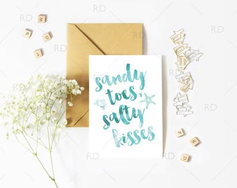 Sandy Toes and Salty Kisses - GREETING CARD / Nautical Quotes / Nautical Beach quote greeting card / Nautical greeting cards / 5x7 & A7 Card