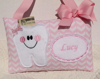 Tooth Fairy Pillow - Girls Tooth Fairy PIllow - Childs Tooth Fairy Pillow - Personalized Pillow -  Pink Pillow - Girls Tooth Pillow