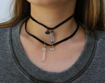 The Lucky Lotus - Wire Wrapped Aura Quartz Crystal Point Charm Suede Choker Necklace
