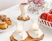 Modern Judaica wedding set, Pair of Hexagon Shabbat candlesticks + Kiddush cup, white ceramic with 24K gold accent, Handmade in Israel