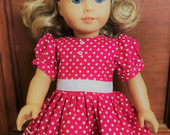 pink polka dot dress for 18 inch doll