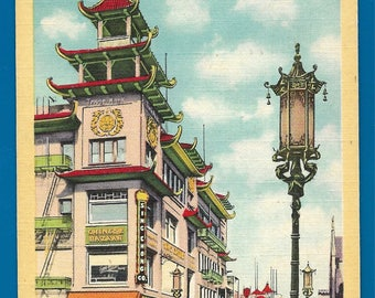 Vintage Linen Postcard - Sing Chong Co. at the Chinese Bazaar  in Chinatown San Francisco, California  (2560)
