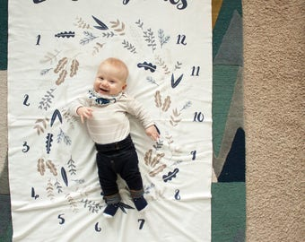 Baby Milestone Blanket / Monthly Milestone Blanket / Personalized Baby Blanket / Photo Blanket - Swaddle Blanket / Organic Baby Blanket