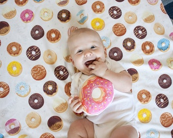 Organic baby blanket / swaddle blanket / toddler blanket - Donuts personalized baby gift / newborn gift
