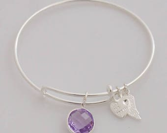AA1212B Light Purple Pave Crystal Adjustable Wire Bracelet w Small Leaf & Heart Charms ~ Silver Plated