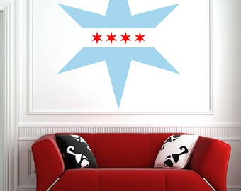 Chicago Flag Star - Wall Decal